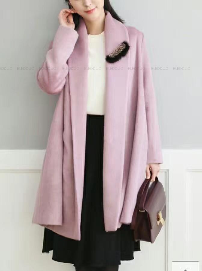 韩国设计师品牌 ENTER 2019冬季新款双面羊绒女大衣