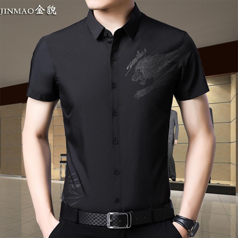 American apple 2019 new short sleeve shirt mens thin wolf pattern black half sleeve shirt middle-aged summer trend