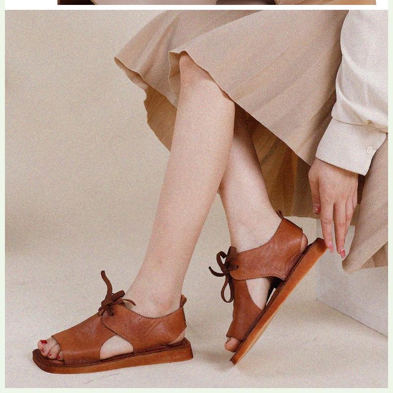 系带凉鞋女复古皮质平底2020女鞋凉拖鞋款夏季包头平跟新文艺凉拖