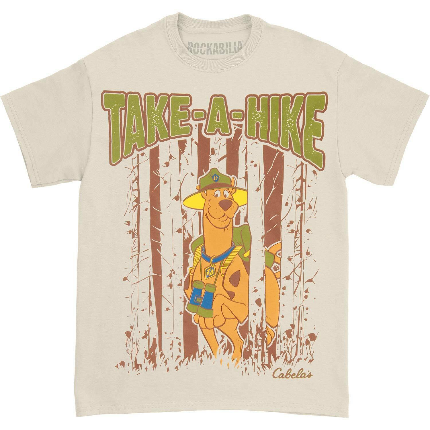 Scooby men go hiking good T-shirt Tan high end customized short sleeve fashion printing and dyeing ins Korean hip hop