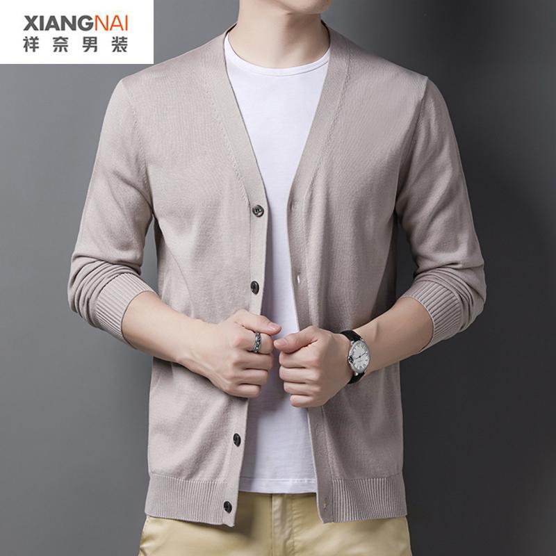 男士夏季薄款开衫冰丝空凋衫线衣外穿羊毛针织衫外套男式外搭毛衣