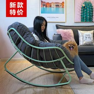 北歐陽臺搖椅午睡椅室內客廳簡約休閑懶人躺椅搖椅逍遙椅成人家用