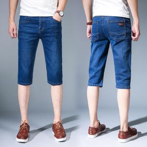 夏季薄款弹力牛仔短裤男休闲牛仔裤子男宽松直筒马裤七分中裤