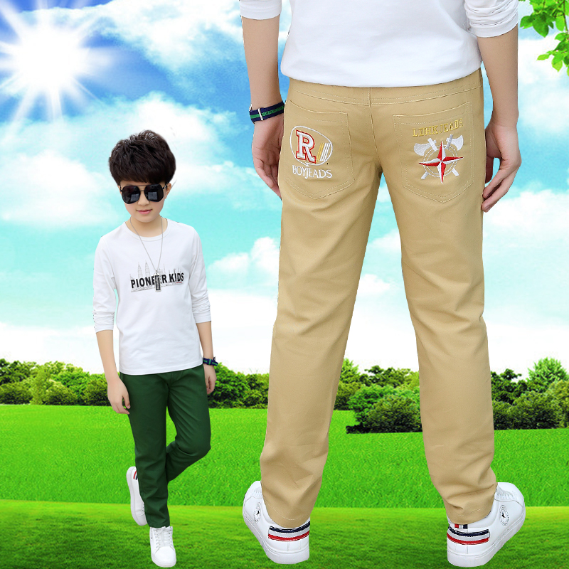 Childrens clothing boys pants 8 childrens cotton straight leisure pants 2021 summer 9-year-old boys cloth pants fashion