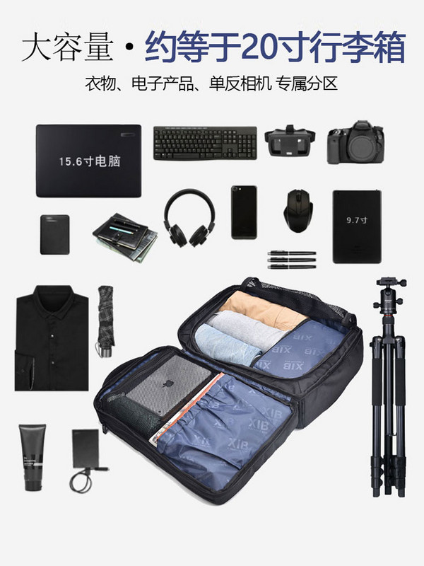 Backpack mens large capacity fashion simple computer camera bag travel bag leisure backpack multi function mens bag~