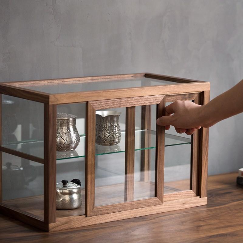 黑胡桃木玻璃罩子透明小型展示柜实木手办陈列柜日式工艺品收藏柜