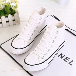 学生高帮帆布鞋女秋百搭韩版学院风休闲女鞋透气圆头平底白色板鞋