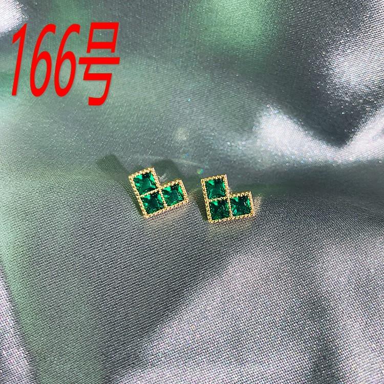 925银针微镶祖母绿宝石耳钉轻奢高级耳饰名媛气质个性时尚耳环166