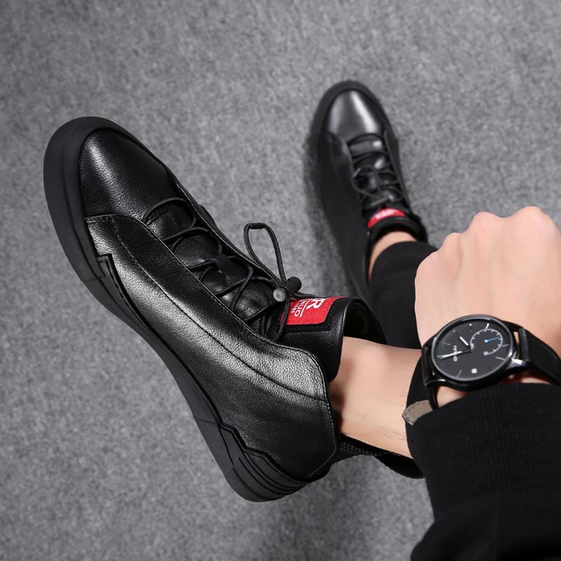朴晨0015男鞋秋季鞋子男士休闲皮鞋中高帮马丁靴冬季保暖皮靴子男