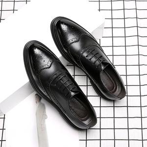 2019春新款男士皮鞋男正裝商務英倫布洛克男鞋單鞋系帶