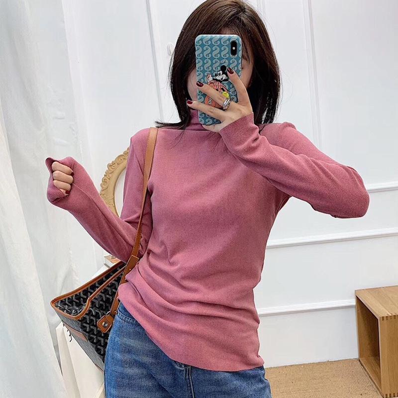 阳离子秋冬新款半高领纯色长袖衫