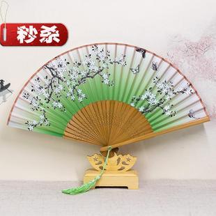 折扇图案男女式c古代风扇子阴阳师妖u狐神乐晴明卡通日式夏季绢布