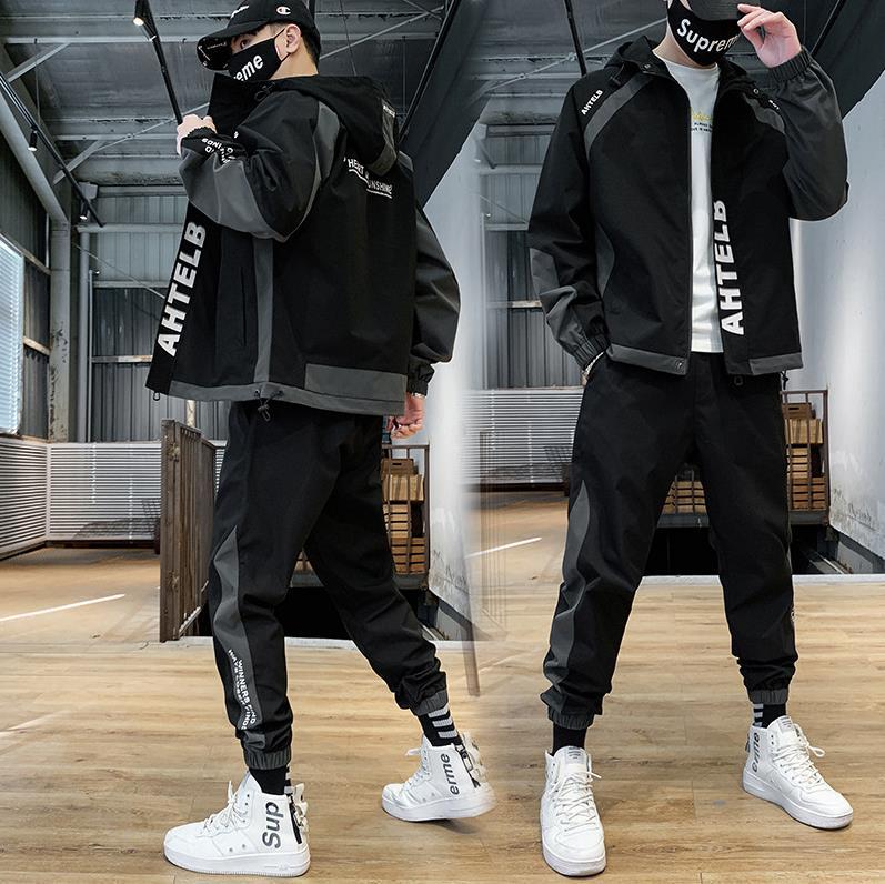 男式休闲套装2021秋季男士工装夹克套装运动潮流帅气时尚连帽男装