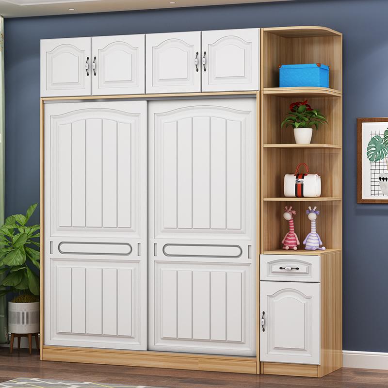 满360元可用15元优惠券衣柜推拉门现代简约经济型欧式实木衣柜简易组装卧室儿童储物衣橱