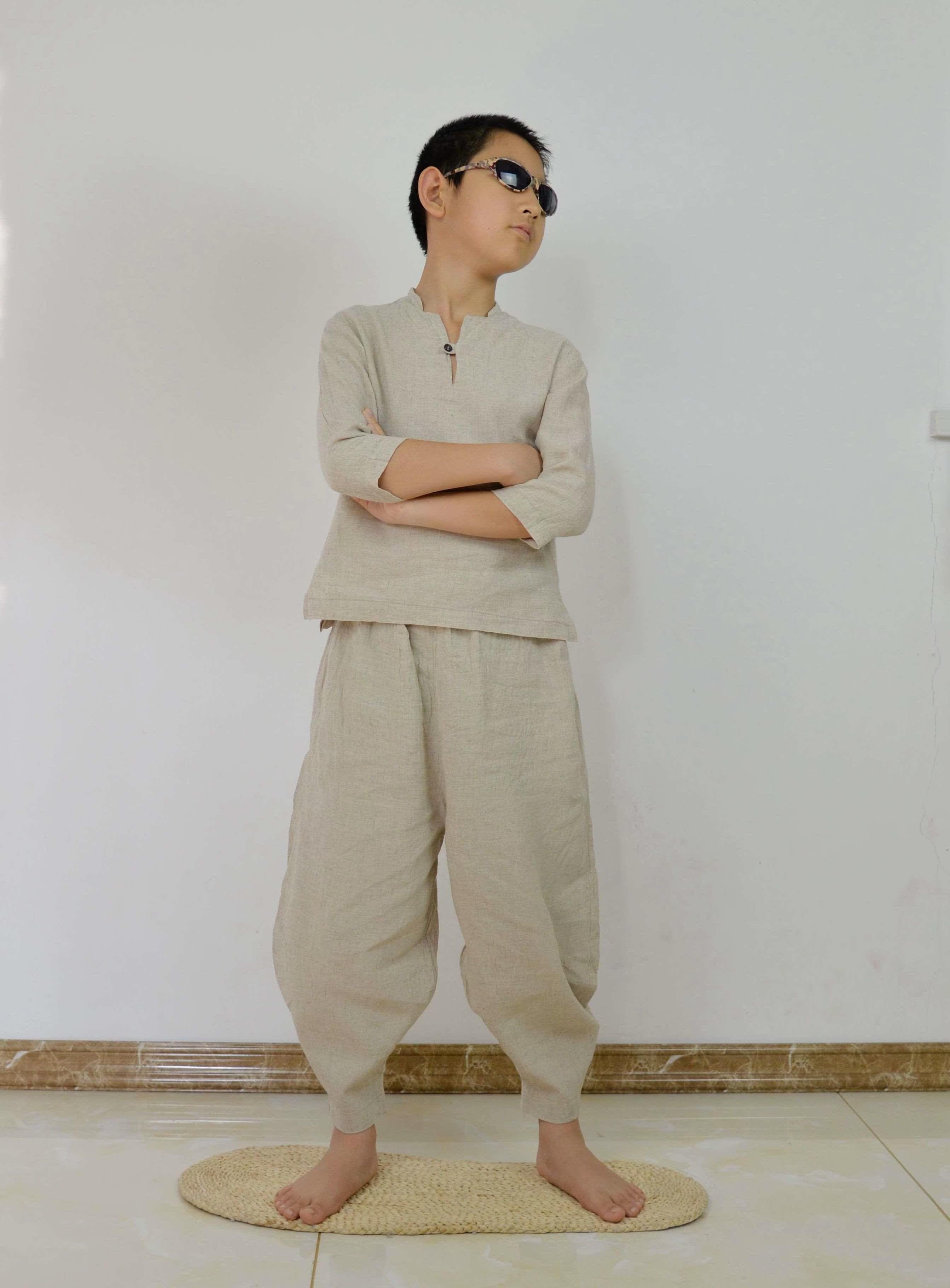 纯亚麻布儿童套件亲子时装时尚禅修服饰改良汉服包邮亲子亚麻服