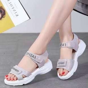 13新款夏季凉鞋女学生韩版魔术贴运动女凉鞋厚底松糕底沙滩女鞋