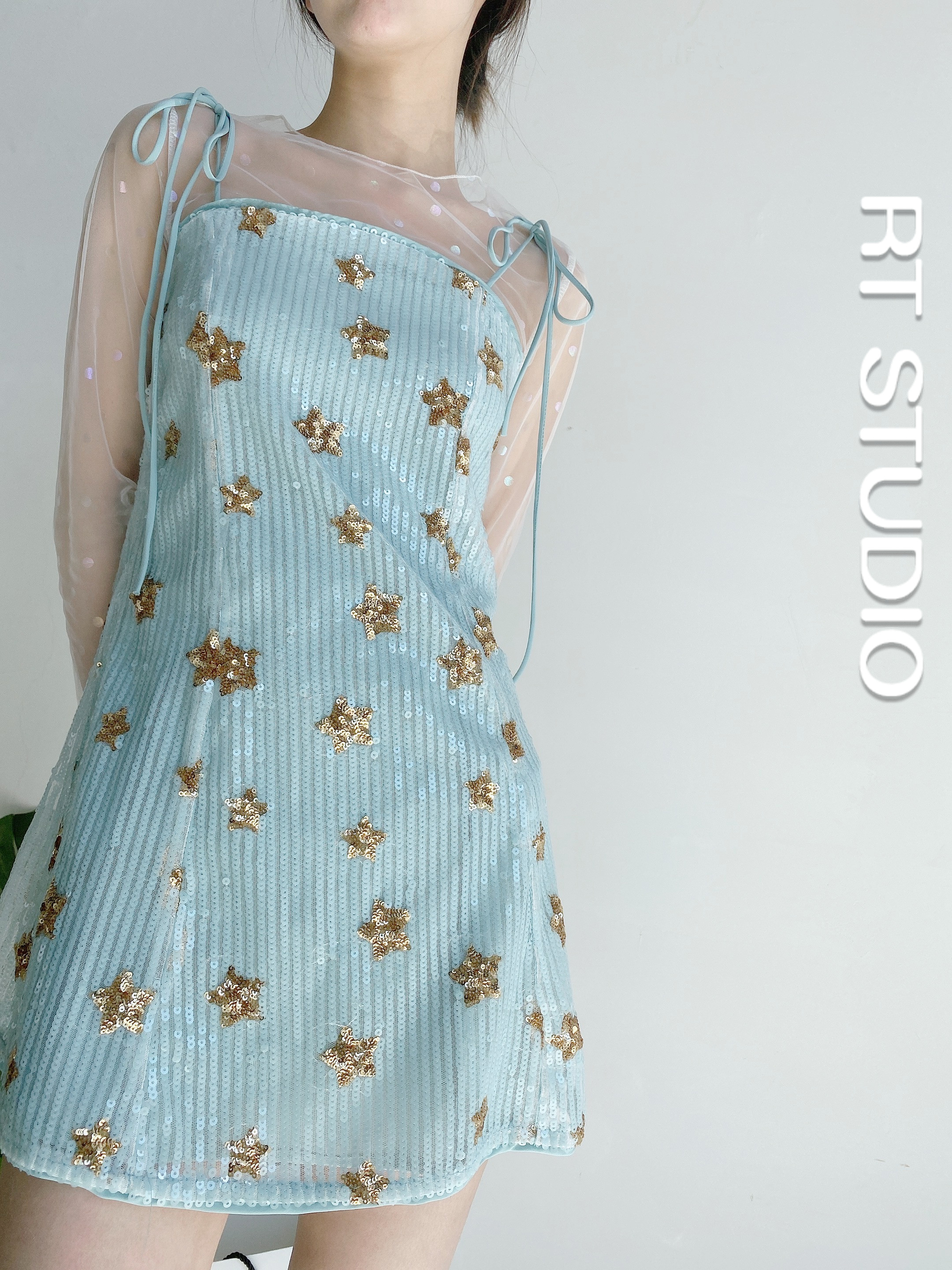 Rutong RT new lace up sweet gorgeous FAIRY DRESS star Sequin bow fresh fashion suspender dress