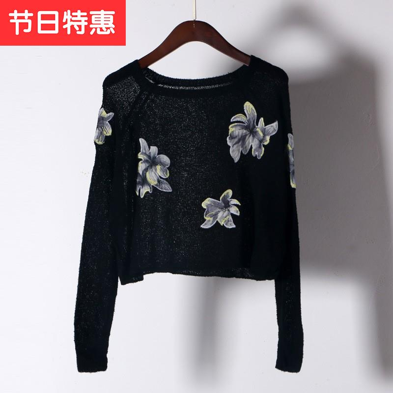 2019 new literary and art Pullover T-shirt round neck high waist short long sleeve sunscreen blouse embroidered thin width m loose top