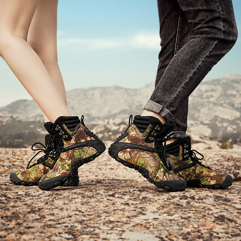 Outdoor mountaineering shoes womens waterproof and antiskid high top camouflage hiking shoes mens cross country mountaineering sports travel desert boots women