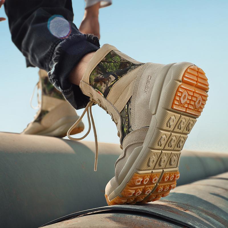 户外登山鞋女防滑耐磨高帮迷彩徒步鞋男爬山运动旅行轻便沙漠靴女