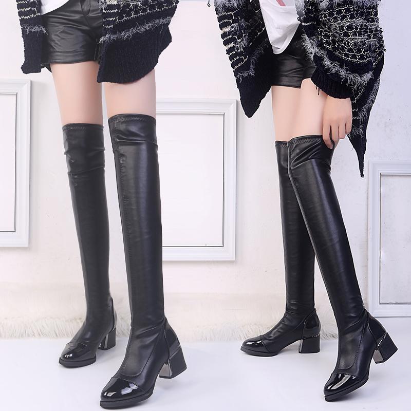 女靴子冬季新款加绒过膝靴女显瘦长靴网红弹力靴粗跟长筒靴子23