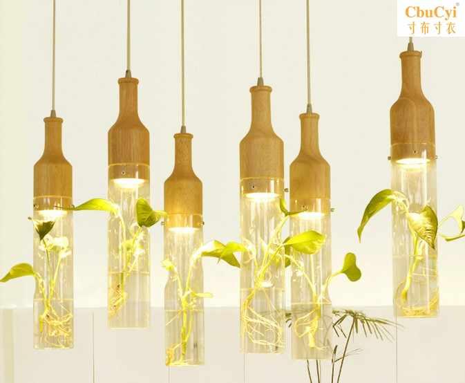 创意个性餐厅三头装饰艺术漫咖啡植物玻璃瓶奶茶店田园花草吊灯
