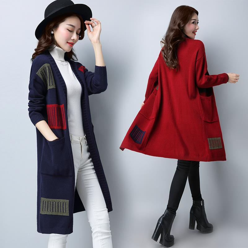 Y39 sweater coat autumn Cape womens knitting cardigan medium length 2021 spring new Korean loose size