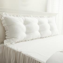 韩版床上大靠垫纯棉双人长靠枕抱枕韩式床头纯白软包大靠背含芯