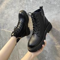 WJA01DD0冬加绒2020机车靴短靴帅新款ins他她粗跟马丁靴女潮Tata