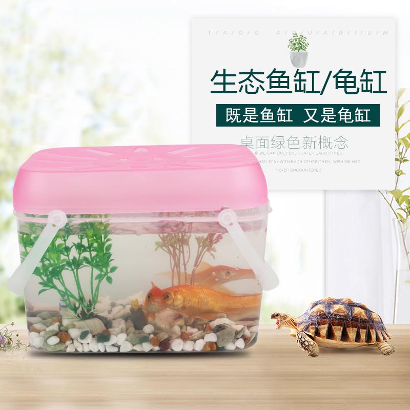 小鱼缸乌龟缸迷你宠物饲养盒儿童手提小号塑料幼儿园小朋友养蝌蚪