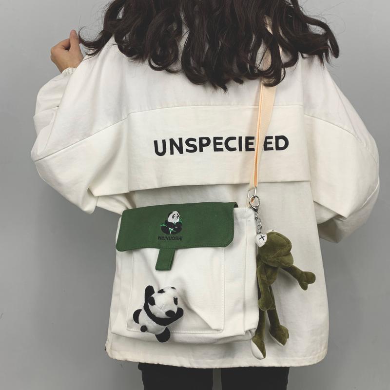 單肩包包女包2019新款時尚可愛布袋包ins風百搭學生帆布包女斜挎