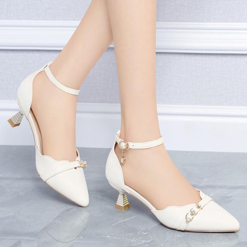 台湾红蜻蜓企业有限公司RD包头凉鞋女夏中跟细跟尖头时装真皮工作