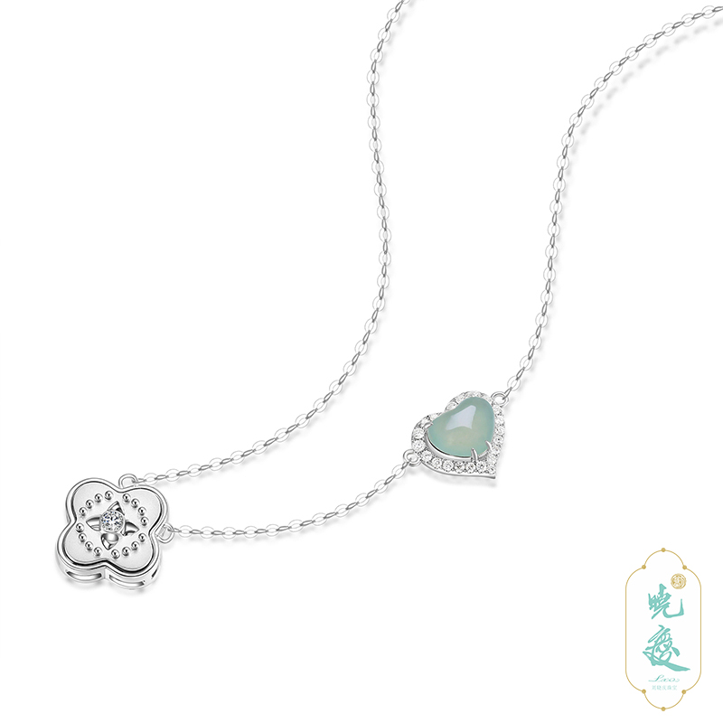 [heartfelt] Liu Xiaoqing recommends natural a-jade 18K White Gold Diamond simple heart-shaped necklace, female clavicle chain