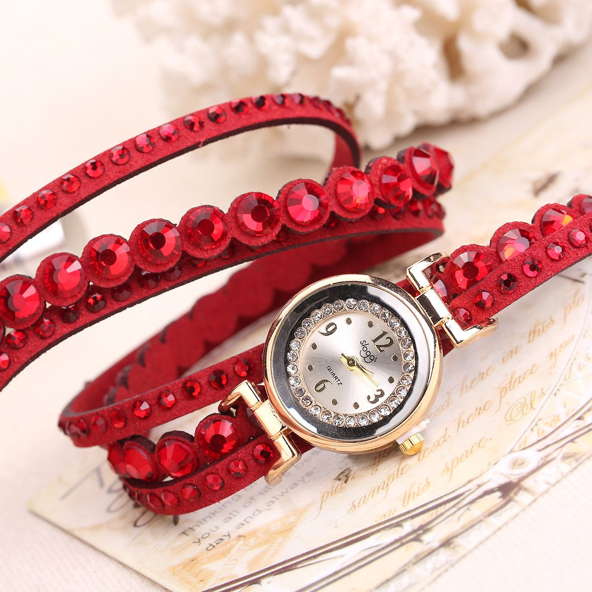 Hot selling womens watch with punk rivets wrapped with diamonds