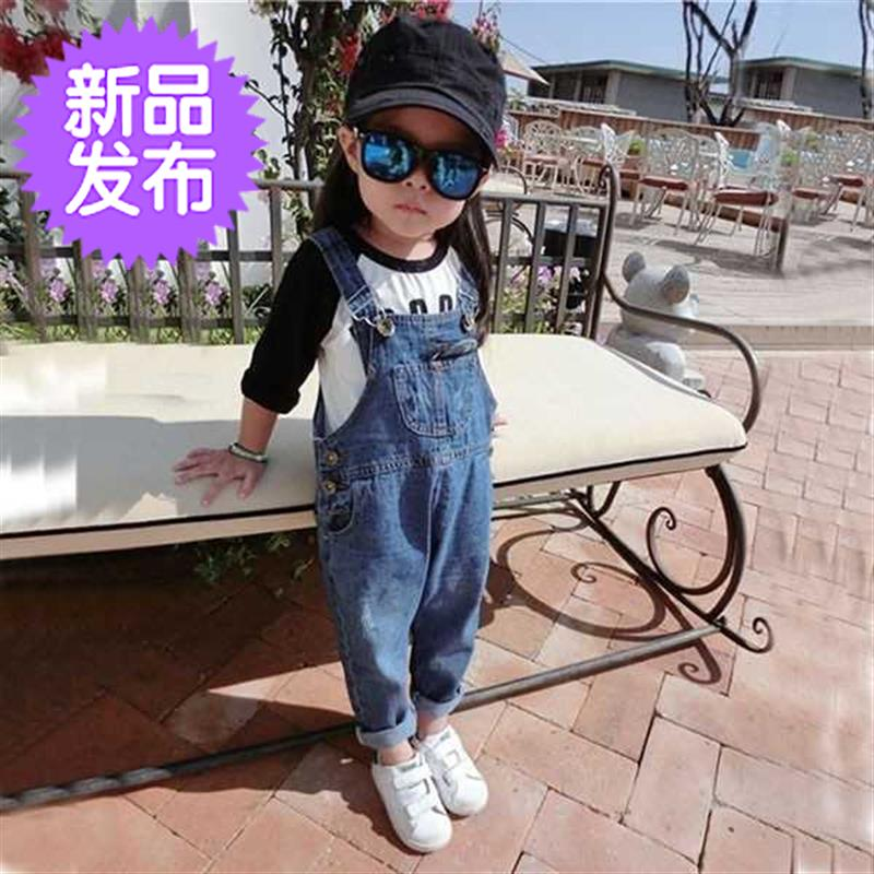 Childrens 1-t2-3-4-5-6-year-old boy, boy, girl, spring and summer suspender, strap and Jean Shorts