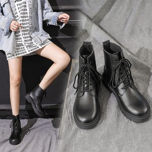 港味马丁靴女冬季加绒加厚厚底米白色靴子中筒靴2019潮ins酷百搭