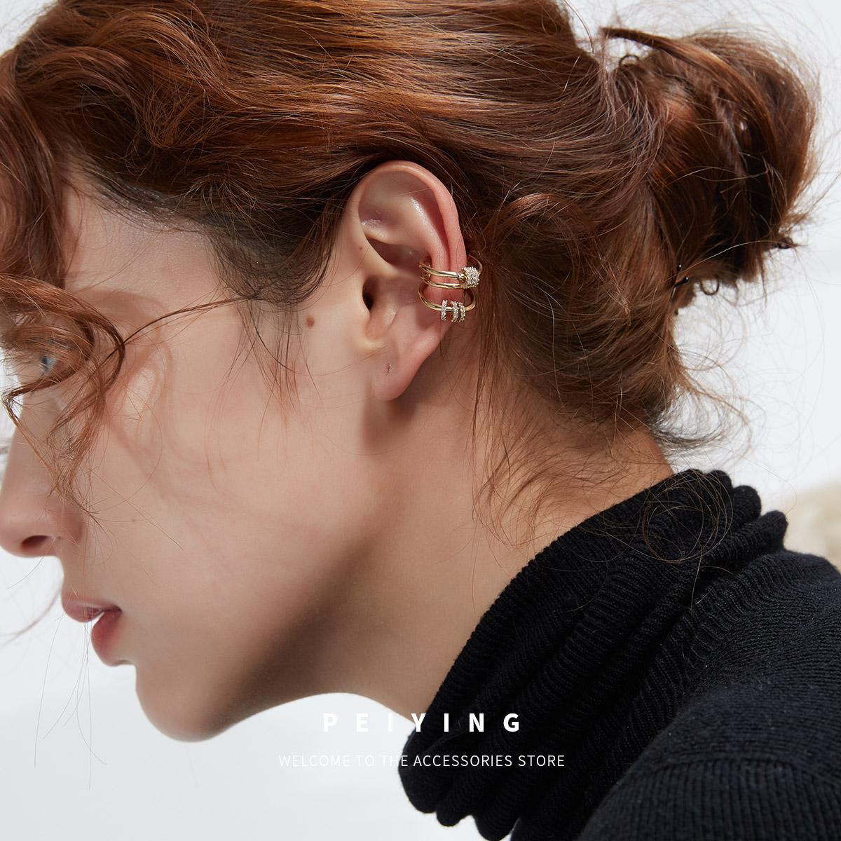 peiying气质耳钉转运珠耳骨夹女潮2020新款无耳洞耳夹耳挂耳饰图片