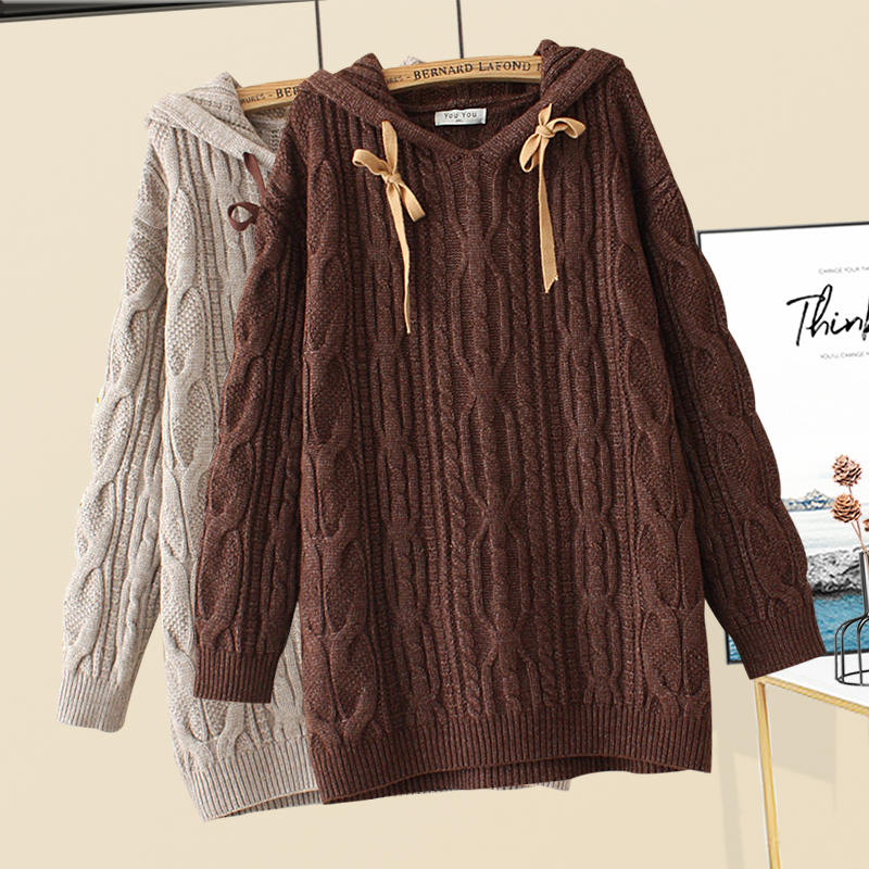 Winter thick thread twist Hooded Sweater plus size womens clothing fat sister foreign style thin knitted pullover