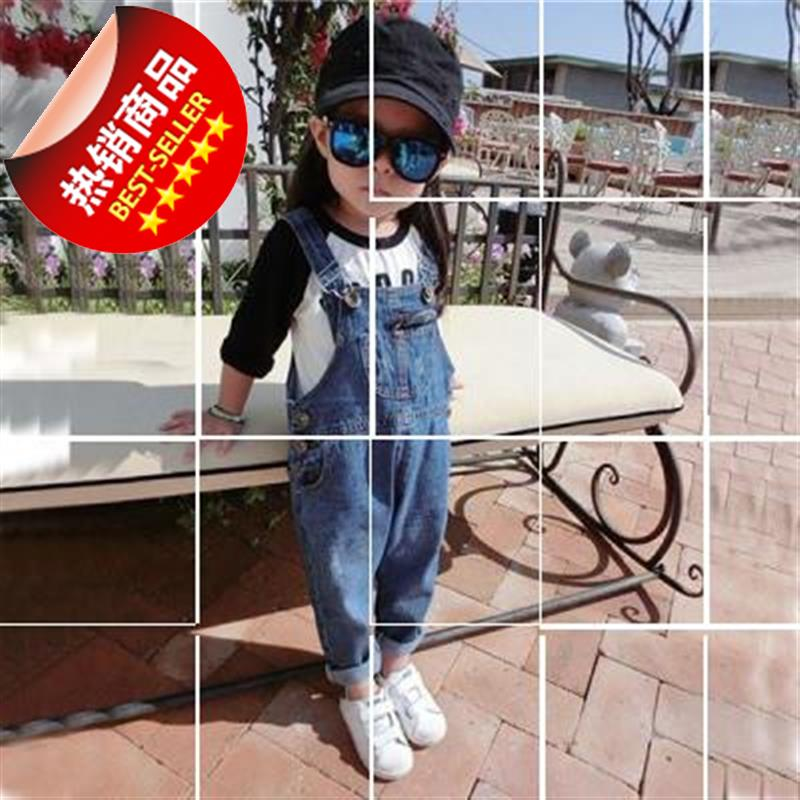 Kids 1q-2-3-4-5-6 year old boy boy girl girl spring summer suspender with belt Jean Shorts