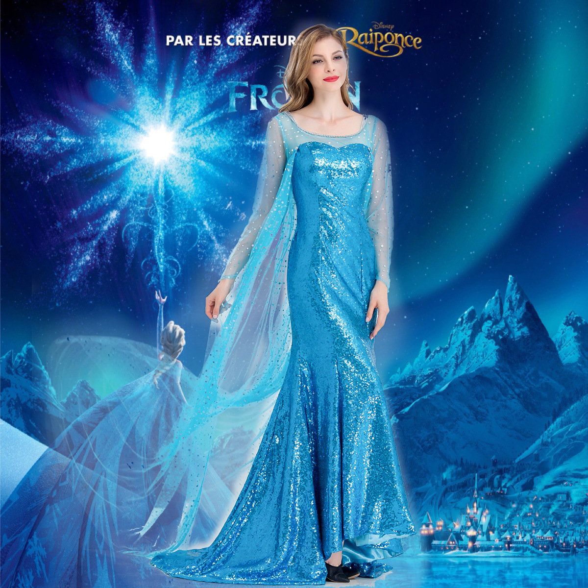 舞台演出服cosplay角色扮演服装成人艾莎冰雪奇缘艾莎公主裙