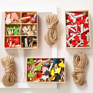 可愛日系卡通照片墻房間裝飾麻繩彩色小木夾子創意相片掛墻懸掛
