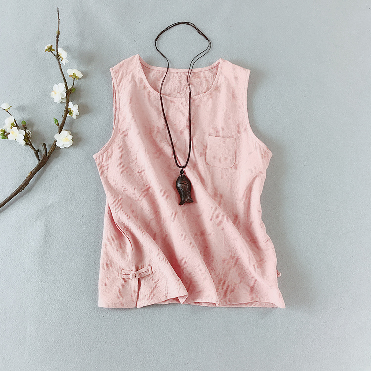 Plain brocade small pocket cotton linen jacquard round neck bottomed vest Vintage literary style linen sleeveless top suspender female summer