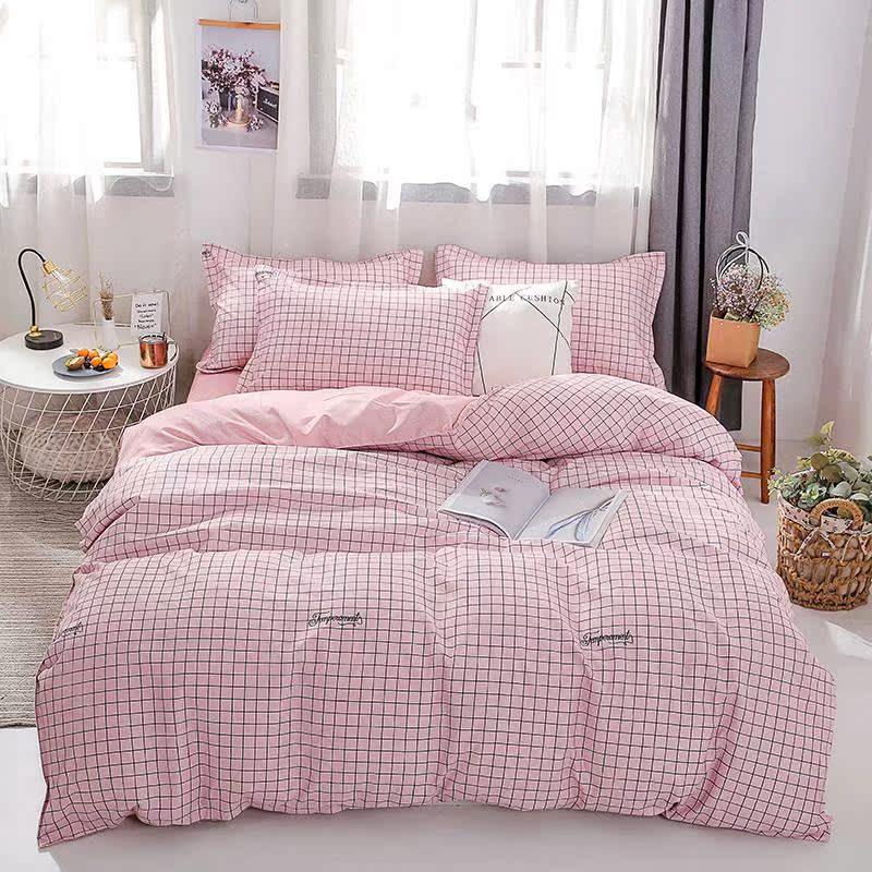 四件套床上用品水洗棉加厚磨毛被套床罩床单三件套双人单人宿舍款