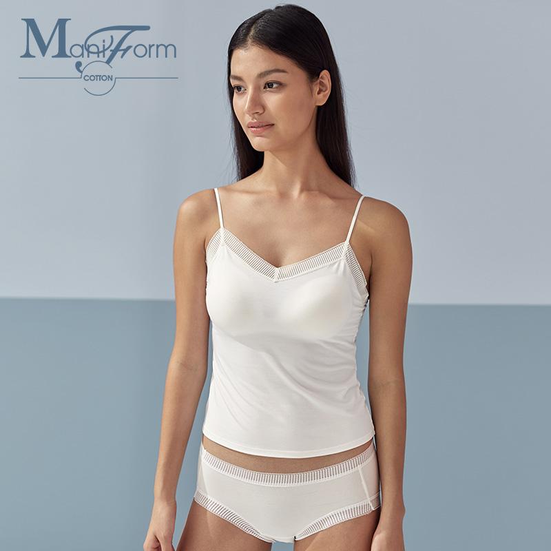 曼妮芬棉質生活一體式帶胸墊小吊帶背心蕾絲短款文胸打底女內衣