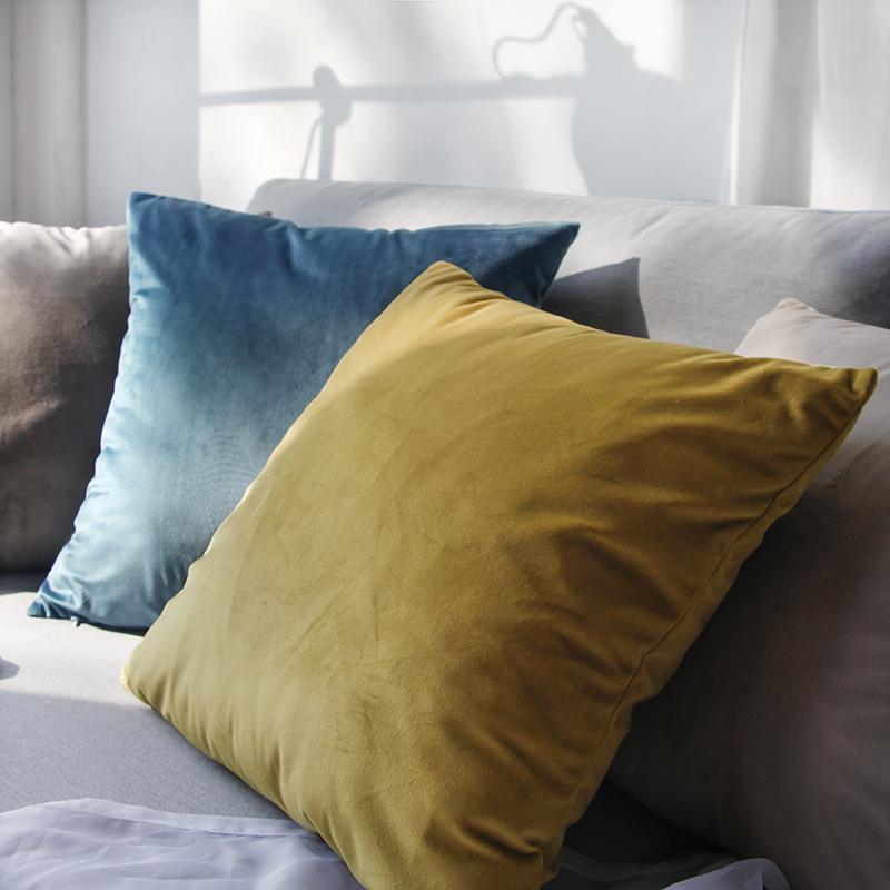 北欧纯色抱枕沙发靠垫办公室床头靠背垫天鹅绒抱枕套不含芯 定制