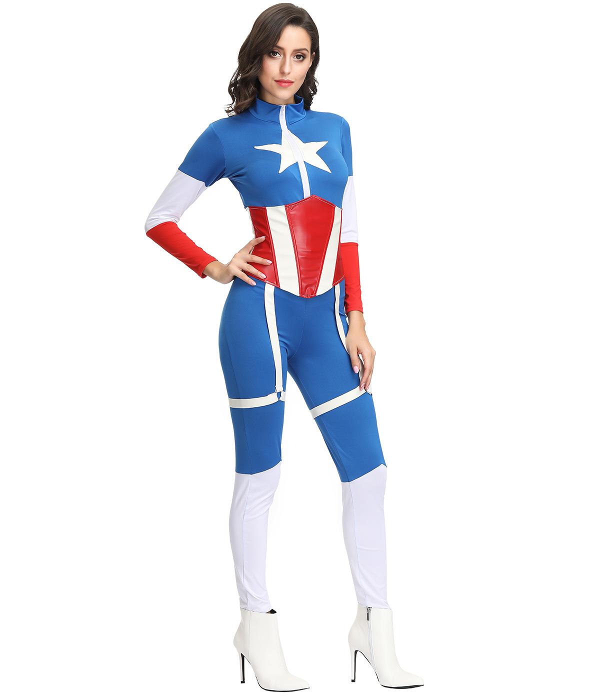 欧美电影美国队长成人连体装舞台演出服含腰封超人服装女酒吧ds服