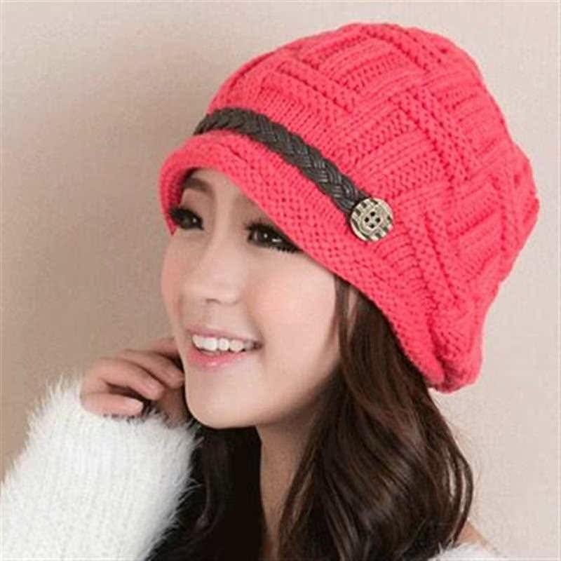 毛线帽针织帽子女秋冬可爱韩国韩版保暖护耳套头帽冬帽