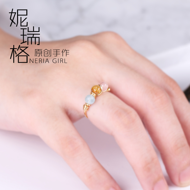 Original sea blue BMW pink hair crystal 14K Gold covered 999 Sterling Silver Open Ring