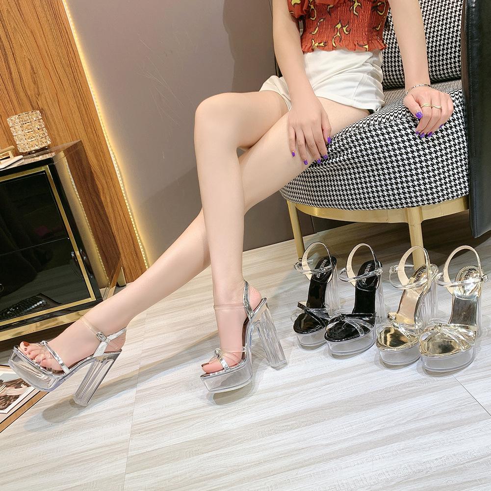 产地时尚潮人创意款日韩百搭透明水晶防水台高跟凉鞋