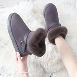 雪地靴女皮毛一体2020冬季新款时尚学生百搭防滑厚底加绒短筒棉靴